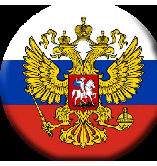 """Значок закатной D56 """"флаг России с гербом"""""""