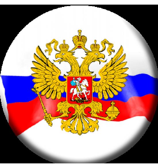 """Значок закатной D56  """"Герб России на флаге """""""